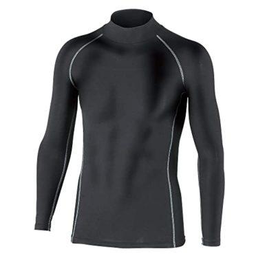 消えたおたふく手袋 ボディータフネス 保温 コンプレッション パワーストレッチ 長袖 ハイネックシャツ JW-170 ブラック M