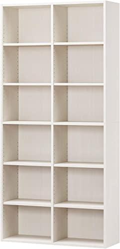 失われた白井産業ラック 本棚 ホワイト 白木目 約 幅90 奥行30 高さ180 cm (AMZ-1890WH)